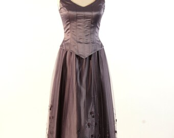 Gray Dress, Cocktail Dress, Polyester and Tull Dress, Embroidered with Glass Beads, Evening Dress, Mother of the Bride Dress, Elegant Dress