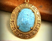 1 Pc Vintage Turquoise Glass Scarab Artisan Brass Pendant - OLD STOCK