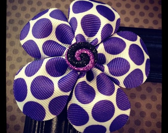 Purple and White Polka Dot Flower Hairclip
