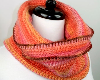 Peachy - Chunky Merino Handmade Crochet Cowl Neckwarmer Scarf with Silk Bronze Trim, Super Soft and Warm, Unisex, Oversized