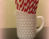 "SALE-Christmas Red Paper Straws 25 Ct. Dark Red Paper Straws. 7.5"". Stripe Paper Straws.  Holiday Party. Birthday Party."