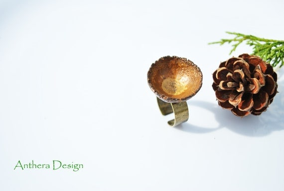 Unique Ring for Women - Rustic -  Natural Jewelry - Acorn