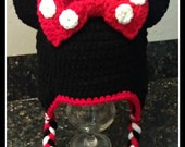 Minnie inspired crochet hat / beanie Red Black & White with Polka Dots (mouse, bow, new born, baby, infant, toddler, child, teen, adult girl