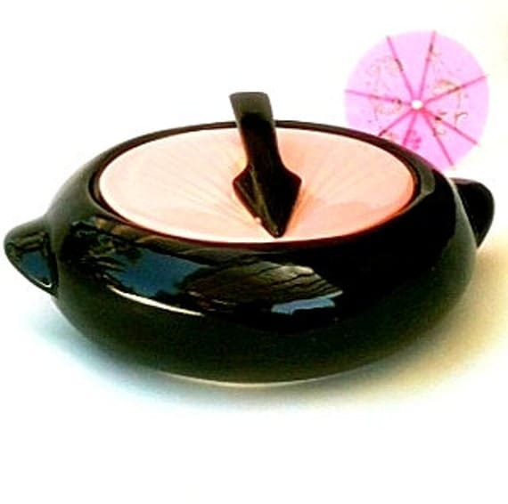 Vintage Sundial Kenwood Mid-Century 1950s Modern American Art Pottery Shawnee Pink Black  Casserole Art Deco Modern Kitchen Retro