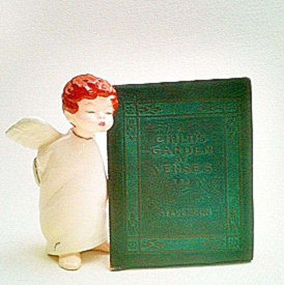 "Vintage 1920s Little Leather Library Robert Louis Stevenson Children's Poetry Book "" A Child's Garden Of  Verses"" Dark Green Brown  Leather"