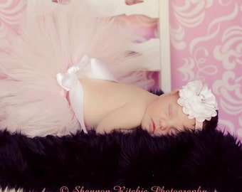 Pale Pink Tutu Set with Matching Satin Puff Vintage Pearl Headband Photography Prop Newborn-5T