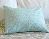 Blue Damask pillow cover lumbar 12 X 16