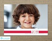 Christmas Photo Card - Christmas Card - Christmas Printable - Holiday Card - joy - green - red - blue - Kids - Joy - DIY Printable