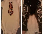 6-12 Month Skull tie & skeleton leggings set