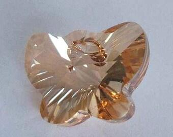 1 SWAROVSKI 6754 Butterfly Crystal Pendant 18mm GOLDEN SHADOW