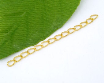 10pc Gold Plated Extension Chain - 50mm - Necklace Extender, Jewelry Finding, Jewelry Making Supplies, DIY, Ships from USA - CH7