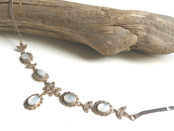 Vintage sterling mother of pearl & marcasite necklace bridal jewelry