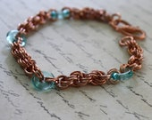 Copper Double Spiral Chainmaille Bracelet with Aqua Colored Czech Glass Rings NOW 20% OFF