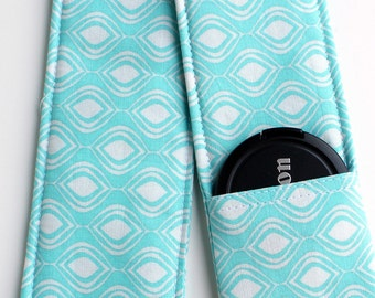 DSLR Camera Strap Cover - Padding and Lens Cap Pocket -  Blue White Cocoon