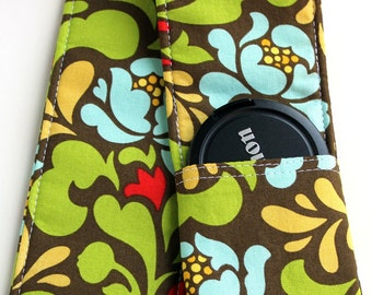 DSLR Camera Strap Cover - Padding and Lens Cap Pocket - Green Blue Floral Garden
