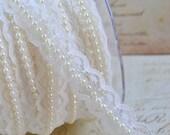 Lace Pearl Ribbon Trim Wedding Ivory Cream Off White 1 Yard Wedding