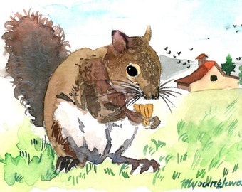 ACEO Limited Edition 4/25 - Near the farmhouse, Art print of an original watercolor painting, Squirrel painting,Small housewarming gift idea