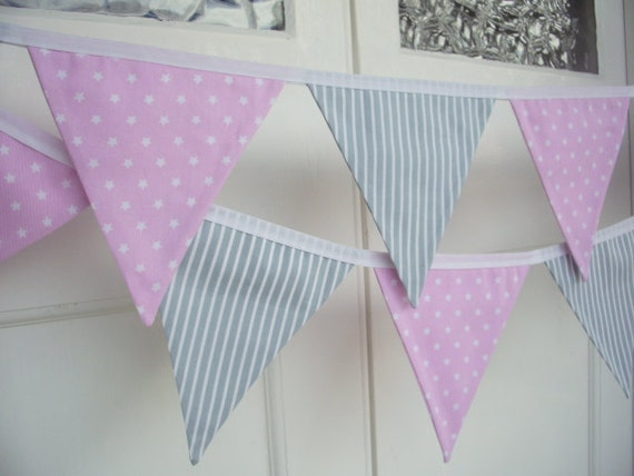 Pink with White Stars & Grey Stripe Fabric Bunting - 12 Flags (Baby Elephant)