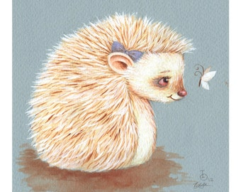 Sonnet, Albino Hedgehog, print from an original watercolor illustration