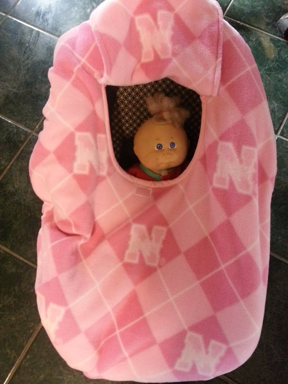 Pink Nebraska Huskers Fleece Print Baby Carrier Cozy Cover Up for Infant Car Seats Last one