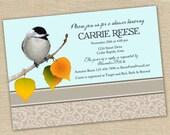 Chickadee shower invitation Printable Customizable