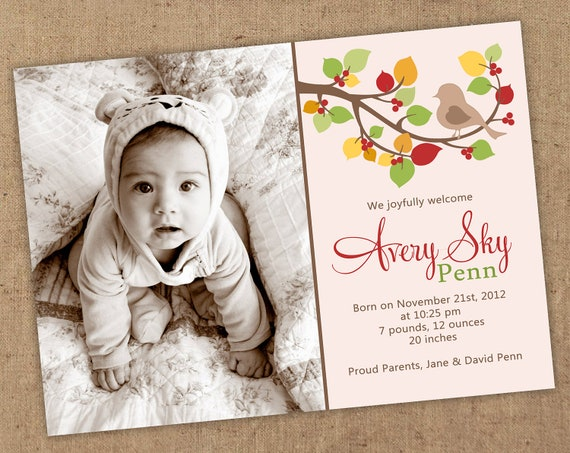 Autumn bird birth announcement 5x7 Printable jpeg OR photographer's psd file.
