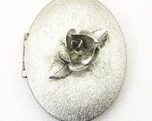 RESERVED FOR RACHEL - Vintage Silver Rose Locket Necklace