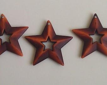 12 Chocolate Wood Grain Resin Star Christmas Ornament Wreath Center Pendant