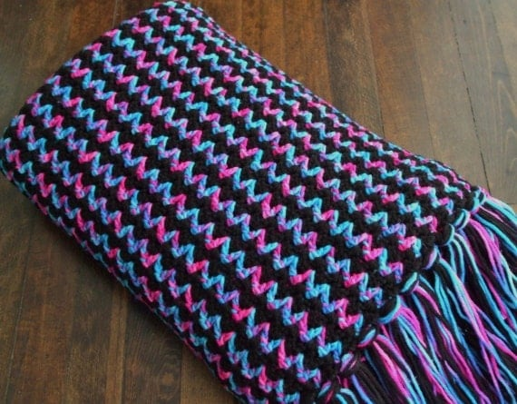 Striped Afghan in Black Blue and Pink Crocheted by ...