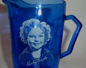 shirley temple cobalt blue cream pitcher