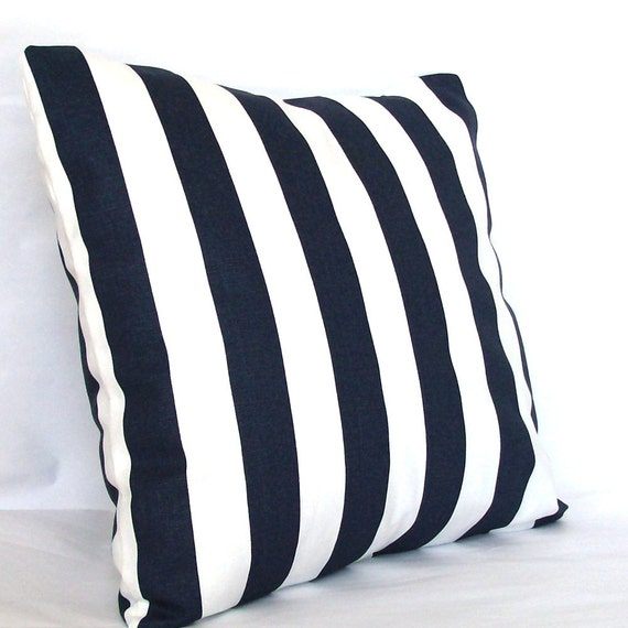 21 Inch Throw Pillow Covers : Blue White Pillow Cover 22x22 inch Striped Decorative