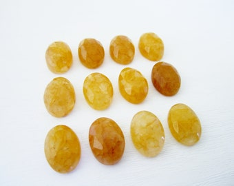 GCF-1242 - Honey Jade Faceted Cabochon - 10x14mm Oval Gemstone - AA - 1 Cab
