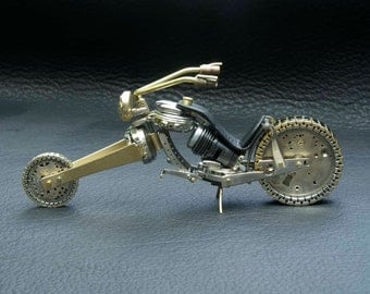 "SOLD Custom Orders Only  Chopper III -- Desk  Sculpture- ""Fat Boy"" Motorcycle made from watch parts and other found objects."