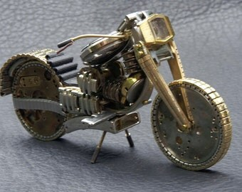 "SOLD. Custom Orders Only   Motorcycle No. III   ""V Twin"" Road Bike Sculpture Handmade from Watch Parts."