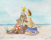 Christmas Sandy beach Tree funny decorated by Hedgehog & Bear Nursery Print Watercolor