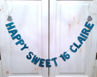 Custom Sweet 16 Birthday Banner -- Birthday Party Decoration / Photo Prop
