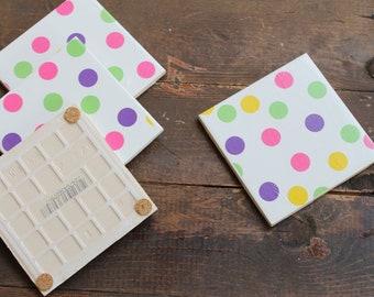 Polka Dot Tile Coasters