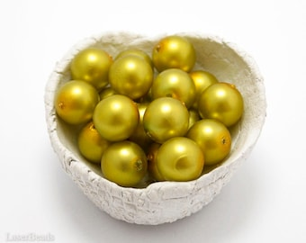 Gold Czech Glass Pearl Beads 10mm (12) Pressed Round Druk Opaque Yellow