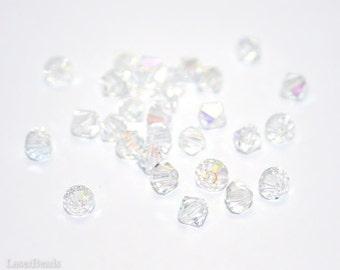 Czech Bicone Beads 4mm Machine Cut Crystal (50) Clear AB last