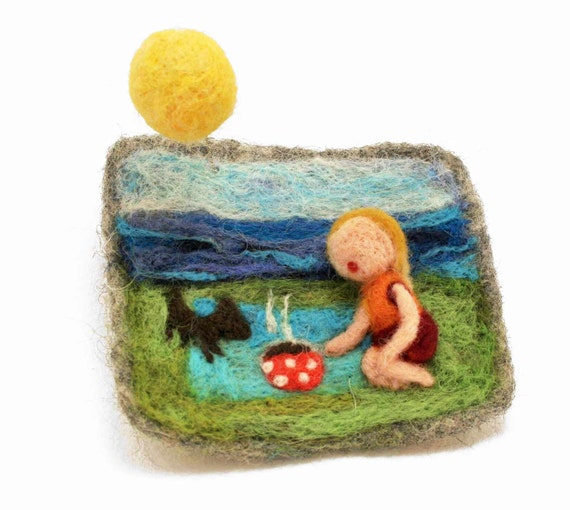"Felted brooch ""picnic ""  -  felted jewelry  - handmade felted ornament -  felted picture - gift for Mom"