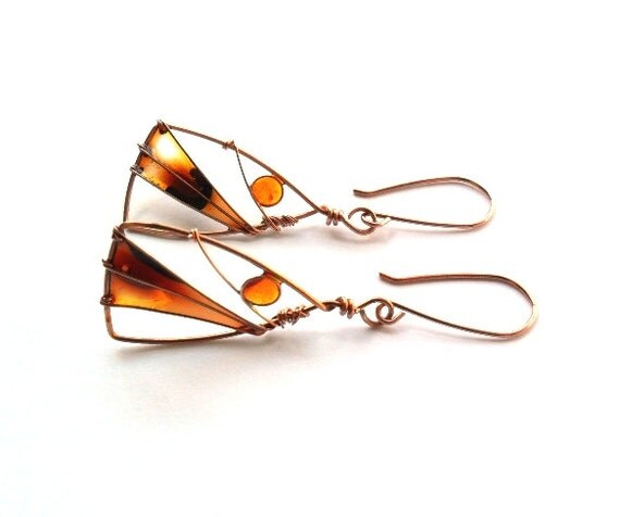 Triangle copper earrings, stained glass earrings, brown earrings, free shipping, nature earrings, wire wrapped