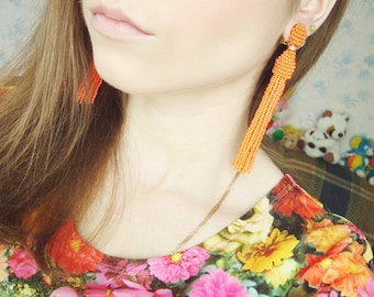 Beaded Tassel Clip-On Earrings Tangerine with Crystals (made to order)