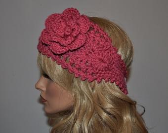 Crochet Ear Warmer, Handmade Crochet Headband with Flower. Fall and Winter Hair Accessories in Rose, Style 1WF