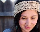 Soft lightweight summer headband - crochet - handmade - rusty gold