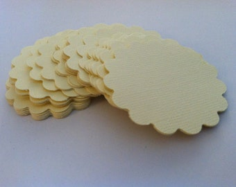 Scalloped circles,  card stock paper embellishments  (50 count)