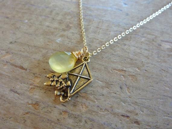 Kite with yellow chalcedony heart briolette necklace -- Kappa Alpha Theta Sorority