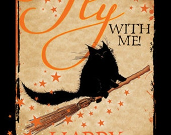 Come Fly With Me Halloween greetings card