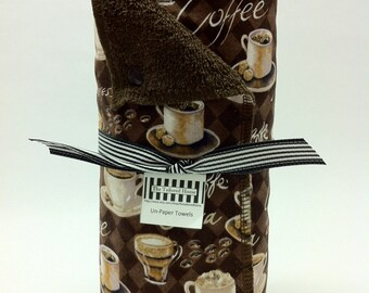 Unpaper towels, reusable paper towels, cloth paper towels, snapping paper towels - Coffee