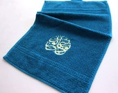 Towel with Arabic Embroidery- Dark Blue with Yellow