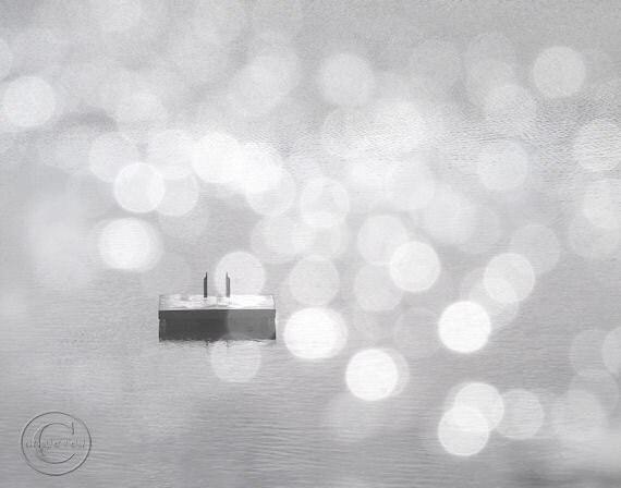 "Summer Photography, Swimming Raft 11"" X 14"" Print, Gray Platinum, Fine Art Photography, Dreamy Summer Swimming Print"